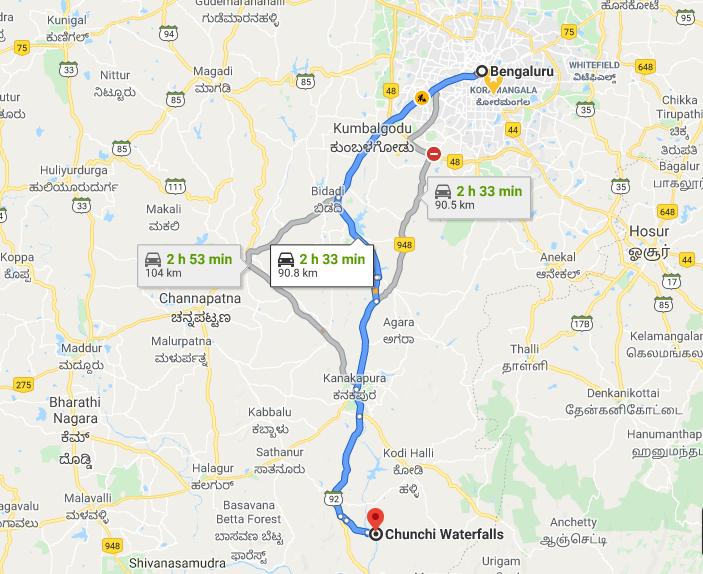 Bangalore to Chunchi Falls